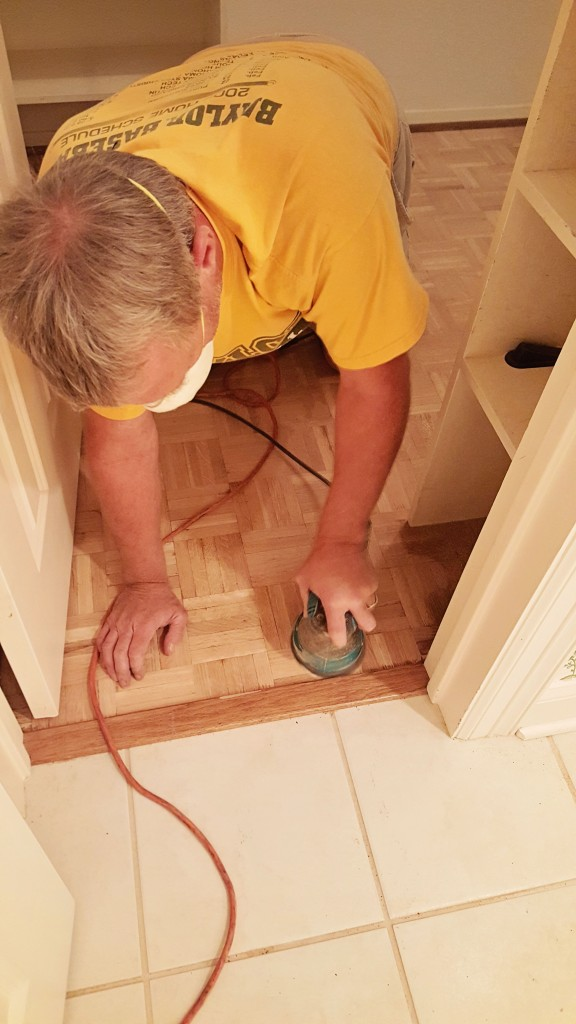 DIY paarquet wood floor refinish