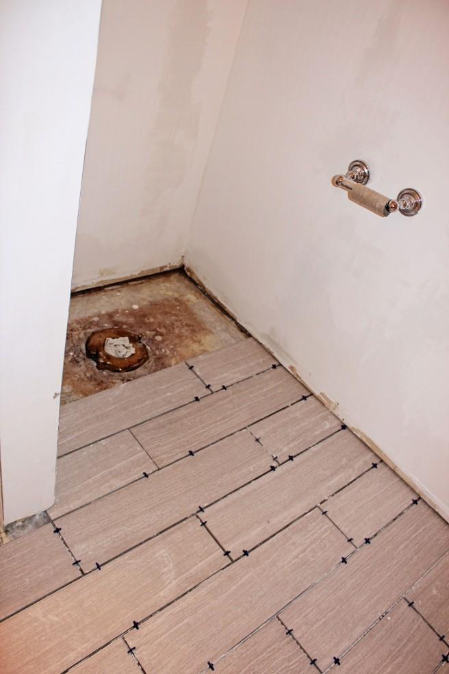 DIY grey tile bathroom floor
