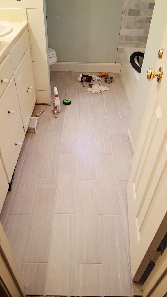 DIY grey tile floor