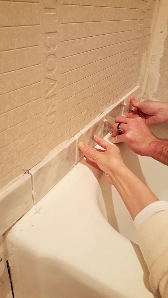 DIY marble shower tile