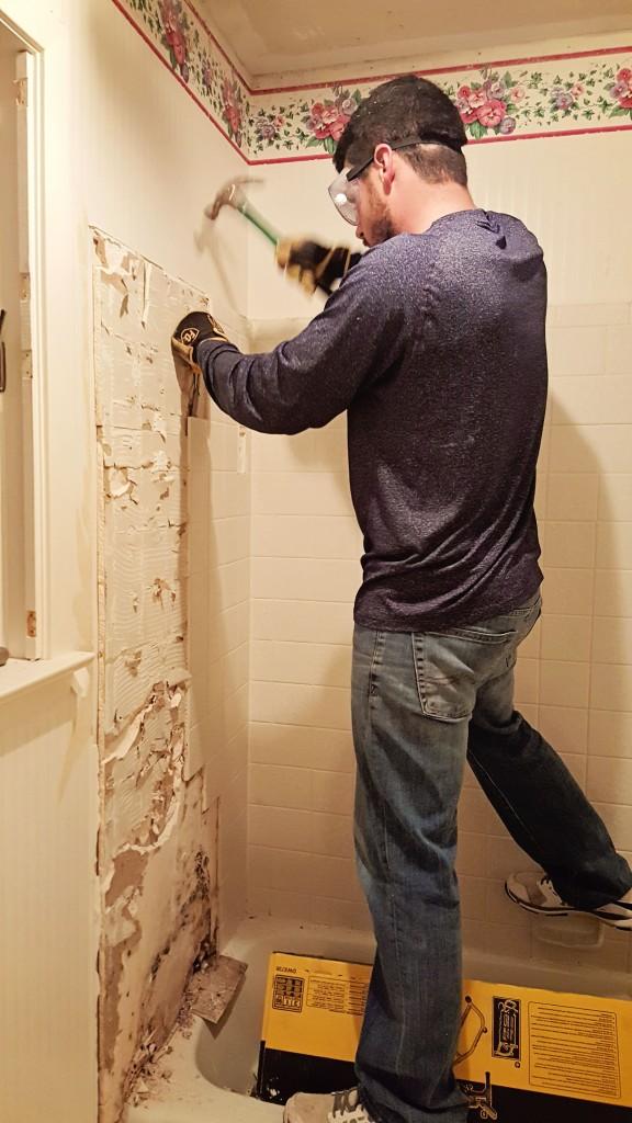 DIY tile demoliton shower