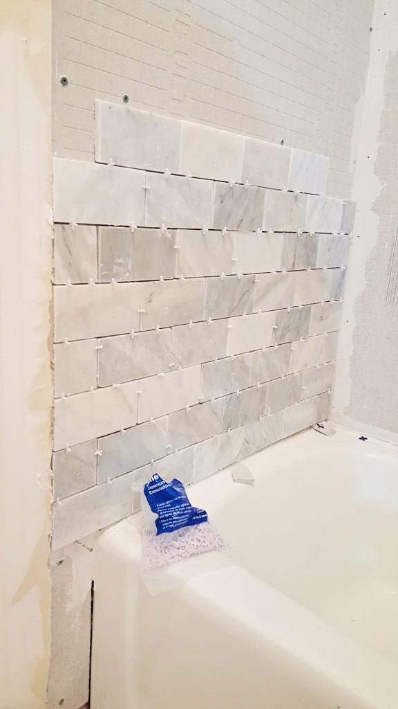DIY tub shower marble wall